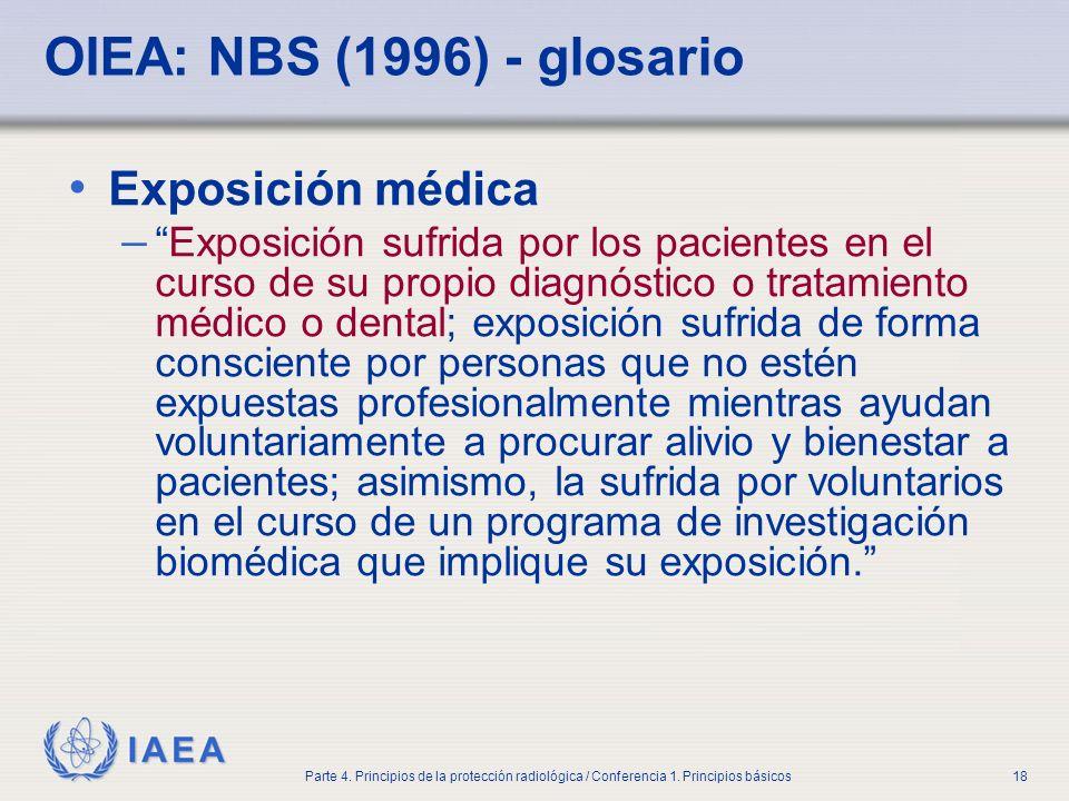 IAEA Parte 4. Principios de la protección radiológica / Conferencia 1. Principios básicos18 OIEA: NBS (1996) - glosario Exposición médica –Exposición