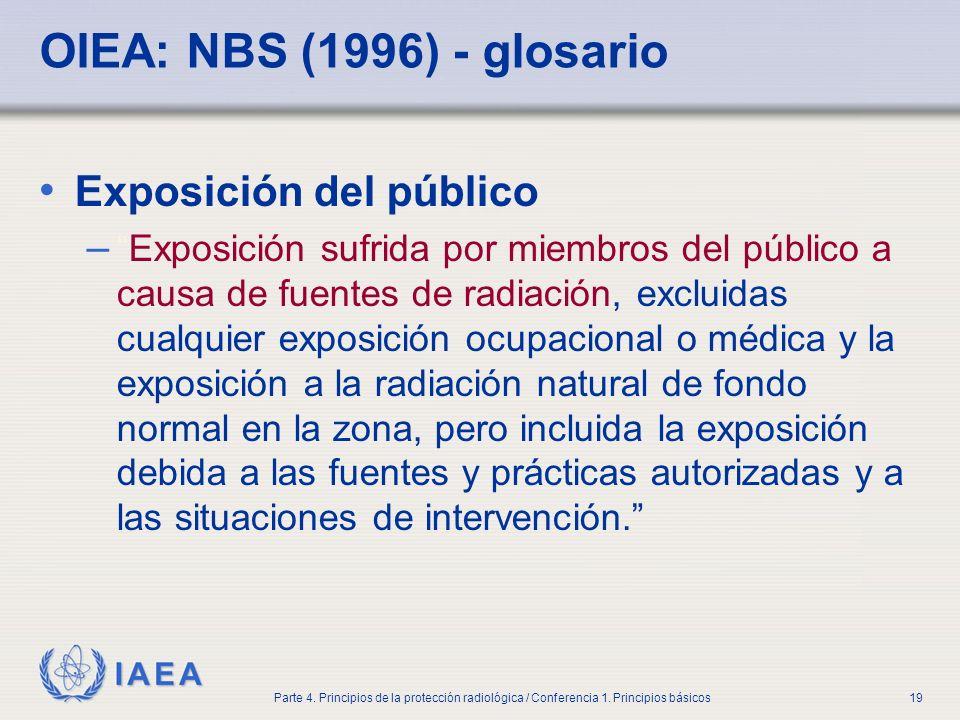 IAEA Parte 4. Principios de la protección radiológica / Conferencia 1. Principios básicos19 OIEA: NBS (1996) - glosario Exposición del público –Exposi
