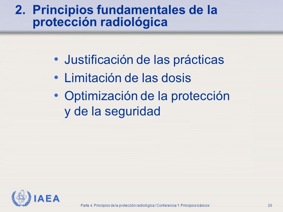 IAEA Parte 4. Principios de la protección radiológica / Conferencia 1. Principios básicos20 2. Principios fundamentales de la protección radiológica J