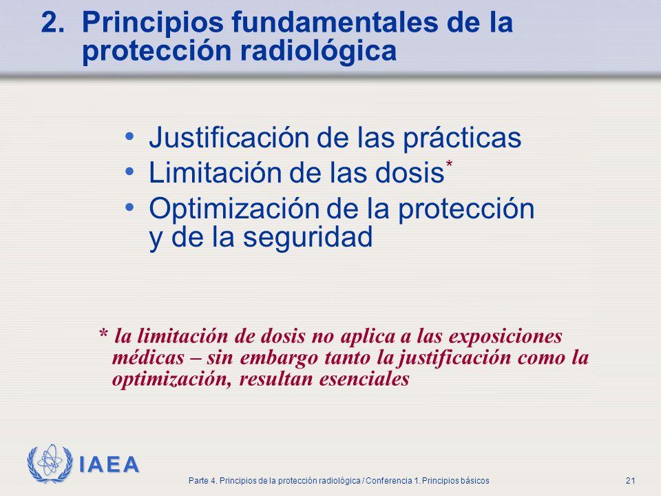 IAEA Parte 4. Principios de la protección radiológica / Conferencia 1. Principios básicos21 2. Principios fundamentales de la protección radiológica J