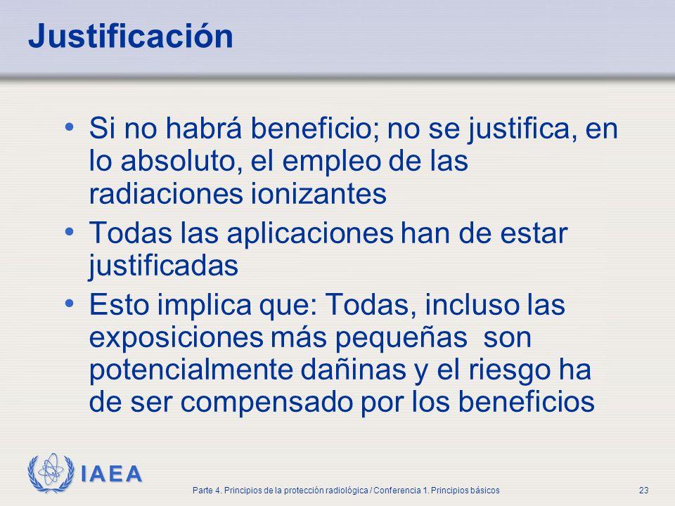 IAEA Parte 4. Principios de la protección radiológica / Conferencia 1. Principios básicos23 Justificación Si no habrá beneficio; no se justifica, en l