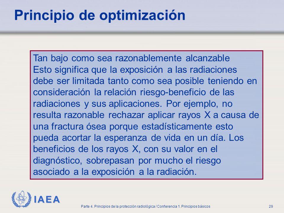 IAEA Parte 4. Principios de la protección radiológica / Conferencia 1. Principios básicos29 Principio de optimización Tan bajo como sea razonablemente