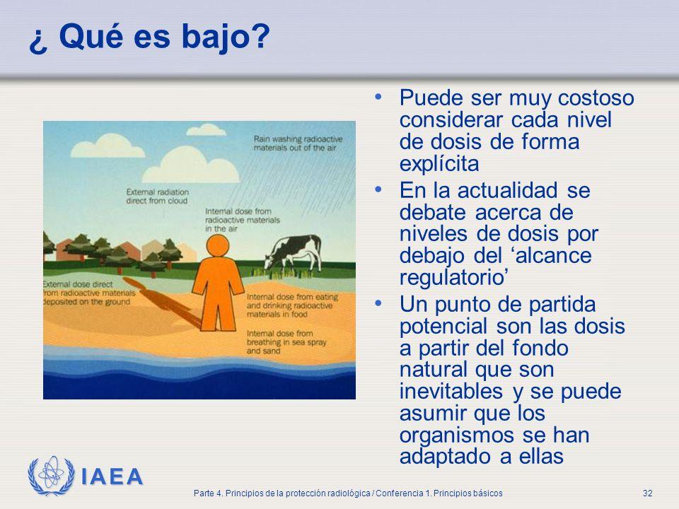 IAEA Parte 4. Principios de la protección radiológica / Conferencia 1. Principios básicos32 ¿ Qué es bajo? Puede ser muy costoso considerar cada nivel