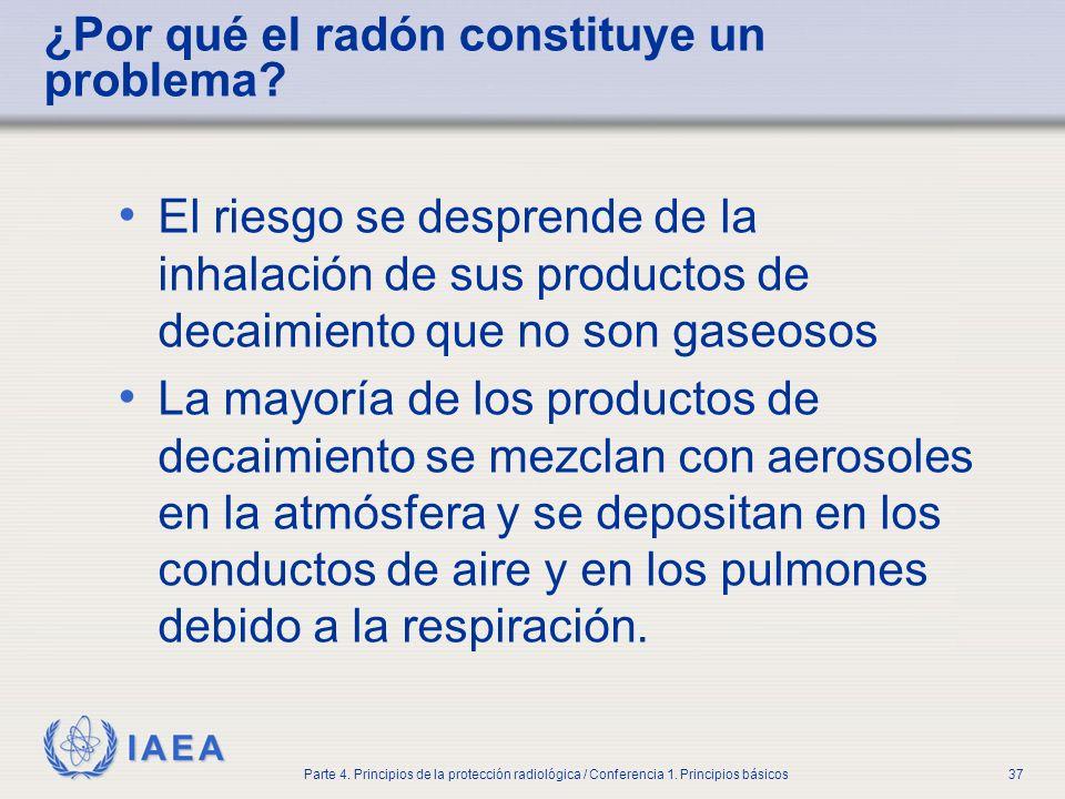 IAEA Parte 4. Principios de la protección radiológica / Conferencia 1. Principios básicos37 ¿Por qué el radón constituye un problema? El riesgo se des
