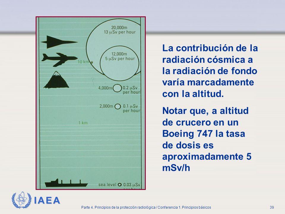 IAEA Parte 4. Principios de la protección radiológica / Conferencia 1. Principios básicos39 La contribución de la radiación cósmica a la radiación de