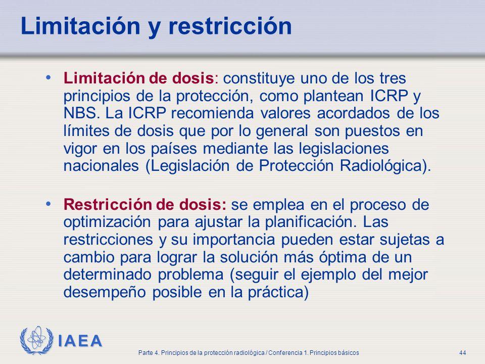 IAEA Parte 4. Principios de la protección radiológica / Conferencia 1. Principios básicos44 Limitación y restricción Limitación de dosis: constituye u
