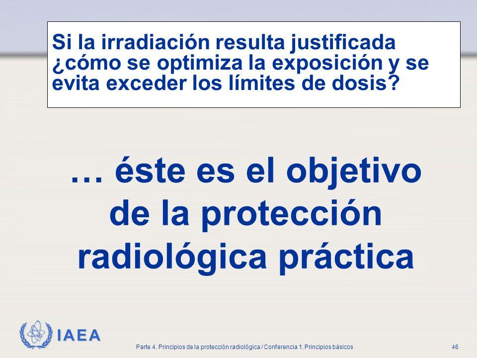 IAEA Parte 4. Principios de la protección radiológica / Conferencia 1. Principios básicos46 Si la irradiación resulta justificada ¿cómo se optimiza la