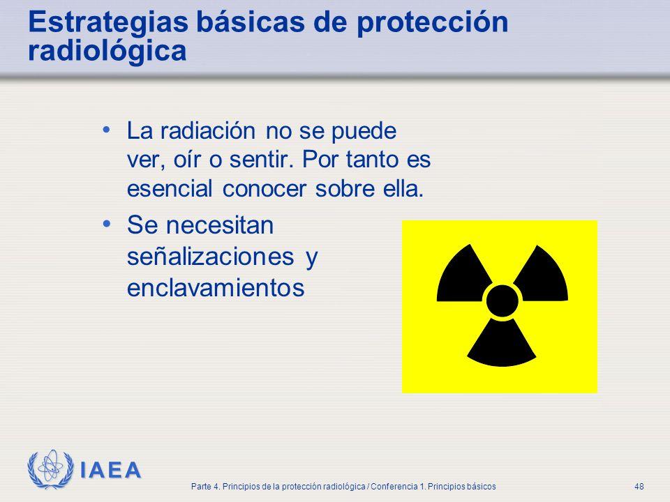IAEA Parte 4. Principios de la protección radiológica / Conferencia 1. Principios básicos48 Estrategias básicas de protección radiológica La radiación