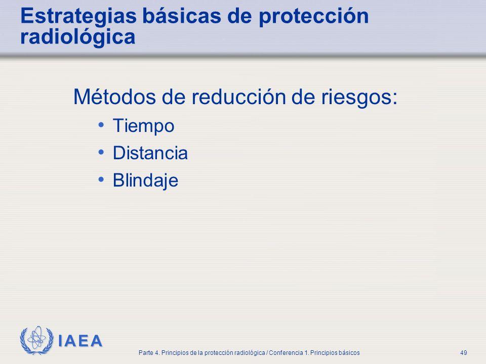 IAEA Parte 4. Principios de la protección radiológica / Conferencia 1. Principios básicos49 Estrategias básicas de protección radiológica Métodos de r