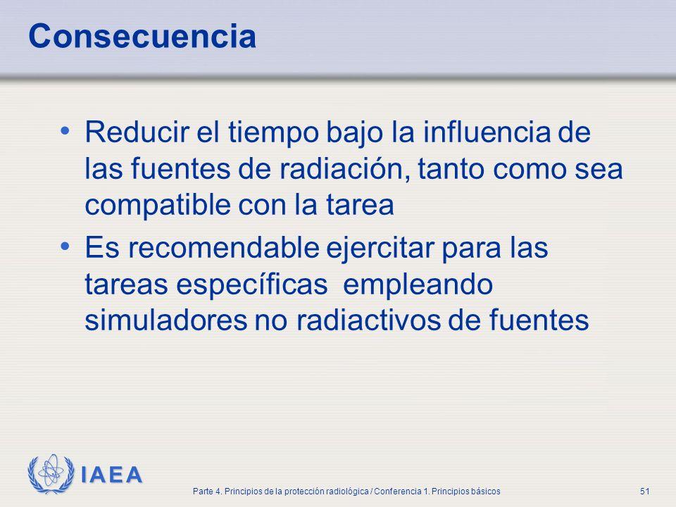 IAEA Parte 4. Principios de la protección radiológica / Conferencia 1. Principios básicos51 Consecuencia Reducir el tiempo bajo la influencia de las f