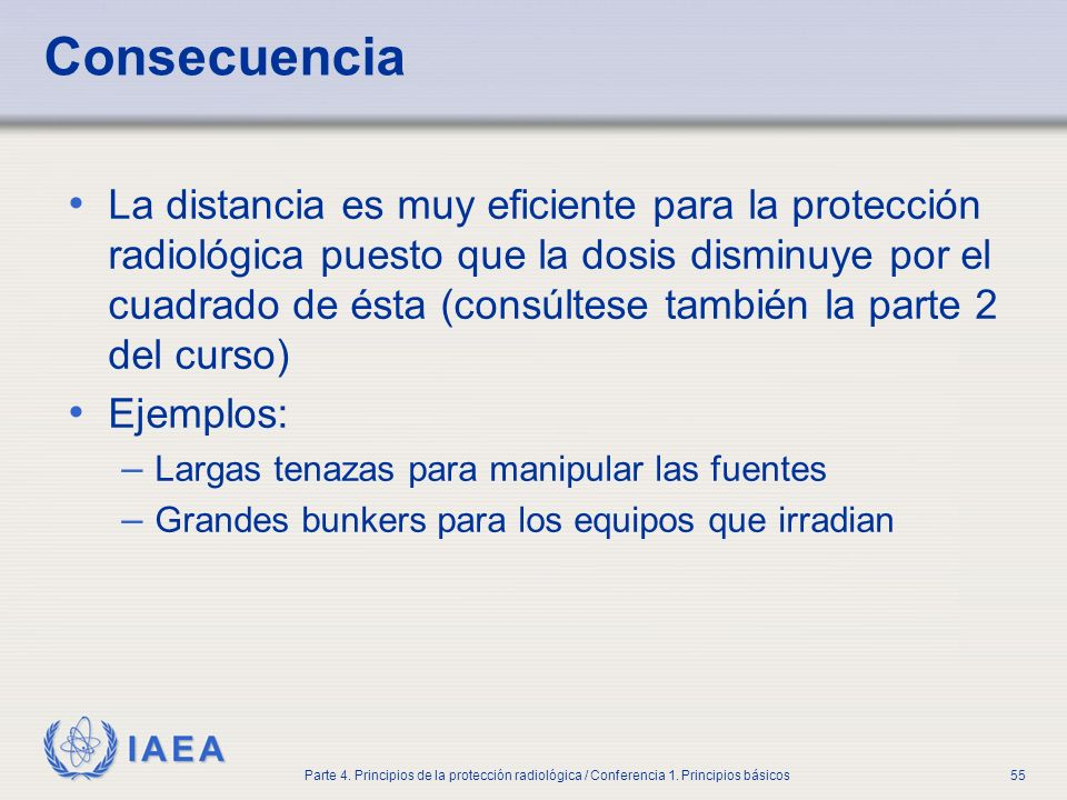 IAEA Parte 4. Principios de la protección radiológica / Conferencia 1. Principios básicos55 Consecuencia La distancia es muy eficiente para la protecc