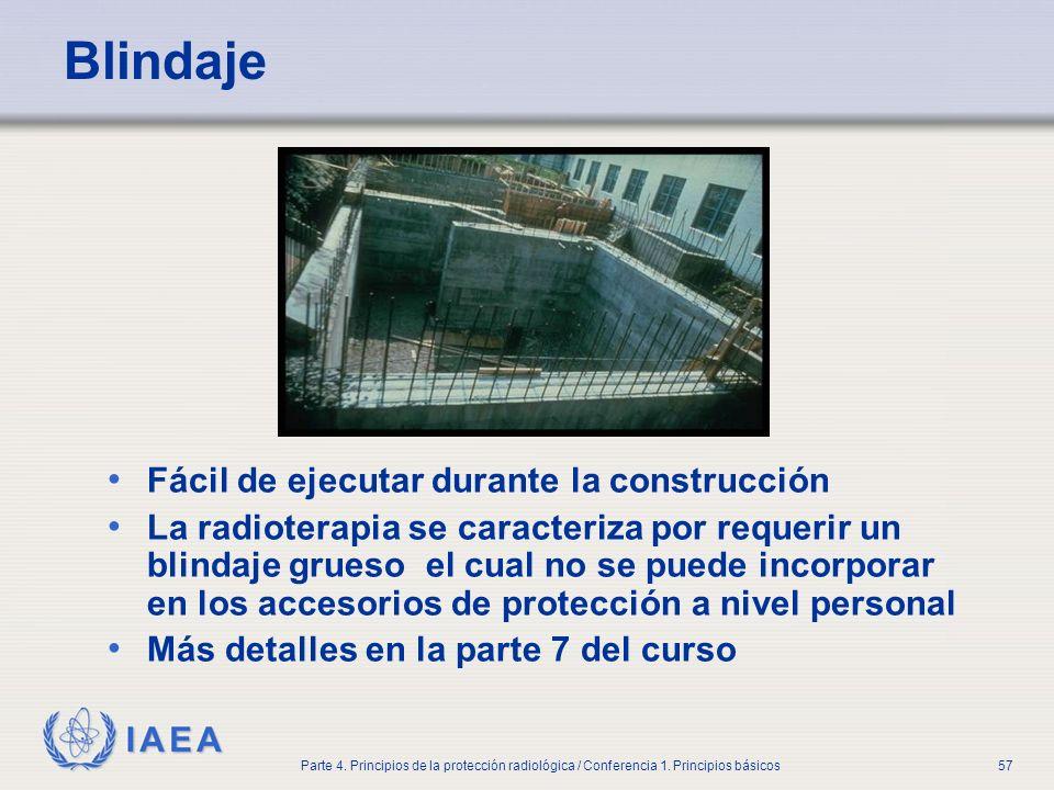IAEA Parte 4. Principios de la protección radiológica / Conferencia 1. Principios básicos57 Blindaje Fácil de ejecutar durante la construcción La radi