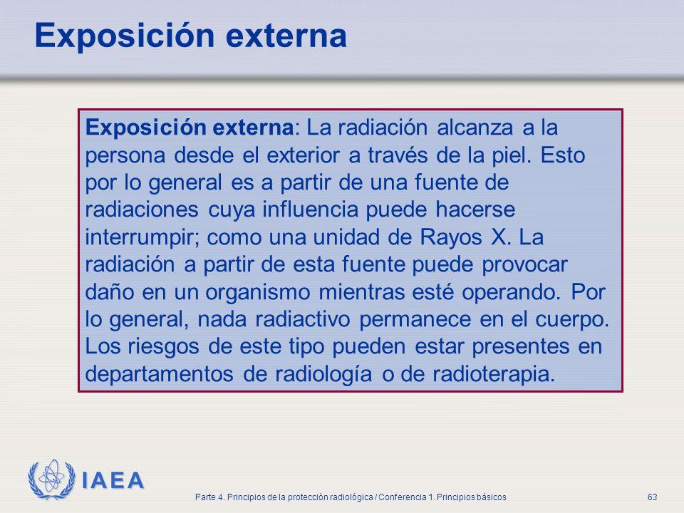 IAEA Parte 4. Principios de la protección radiológica / Conferencia 1. Principios básicos63 Exposición externa Exposición externa: La radiación alcanz