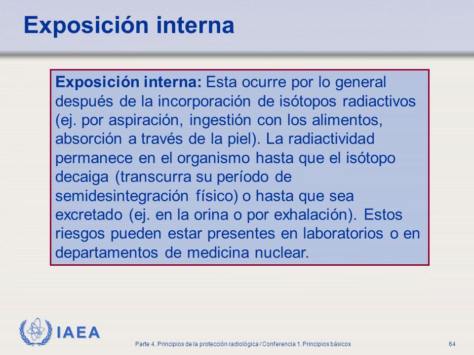 IAEA Parte 4. Principios de la protección radiológica / Conferencia 1. Principios básicos64 Exposición interna Exposición interna: Esta ocurre por lo