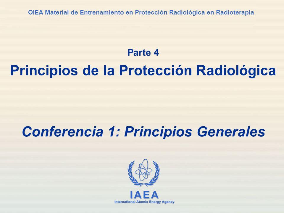 IAEA International Atomic Energy Agency OIEA Material de Entrenamiento en Protección Radiológica en Radioterapia Parte 4 Principios de la Protección R