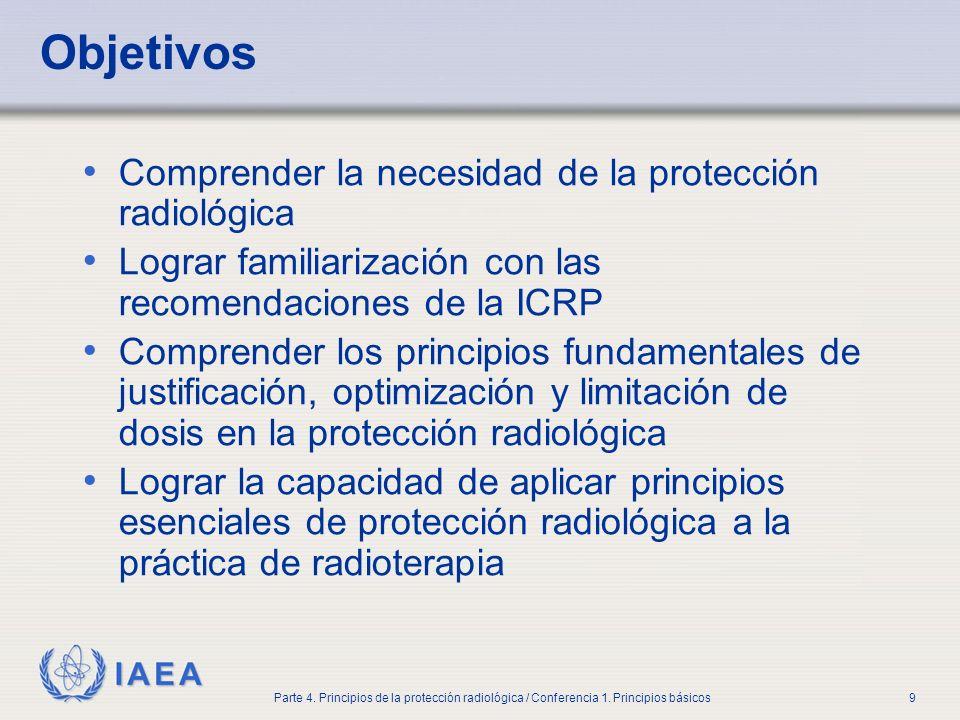 IAEA Parte 4. Principios de la protección radiológica / Conferencia 1. Principios básicos9 Objetivos Comprender la necesidad de la protección radiológ