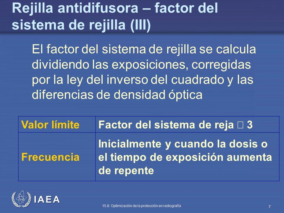IAEA 15.8: Optimización de la protección en radiografía 7 Rejilla antidifusora – factor del sistema de rejilla (III) El factor del sistema de rejilla se calcula dividiendo las exposiciones, corregidas por la ley del inverso del cuadrado y las diferencias de densidad óptica Valor límite Factor del sistema de reja 3 Frecuencia Inicialmente y cuando la dosis o el tiempo de exposición aumenta de repente