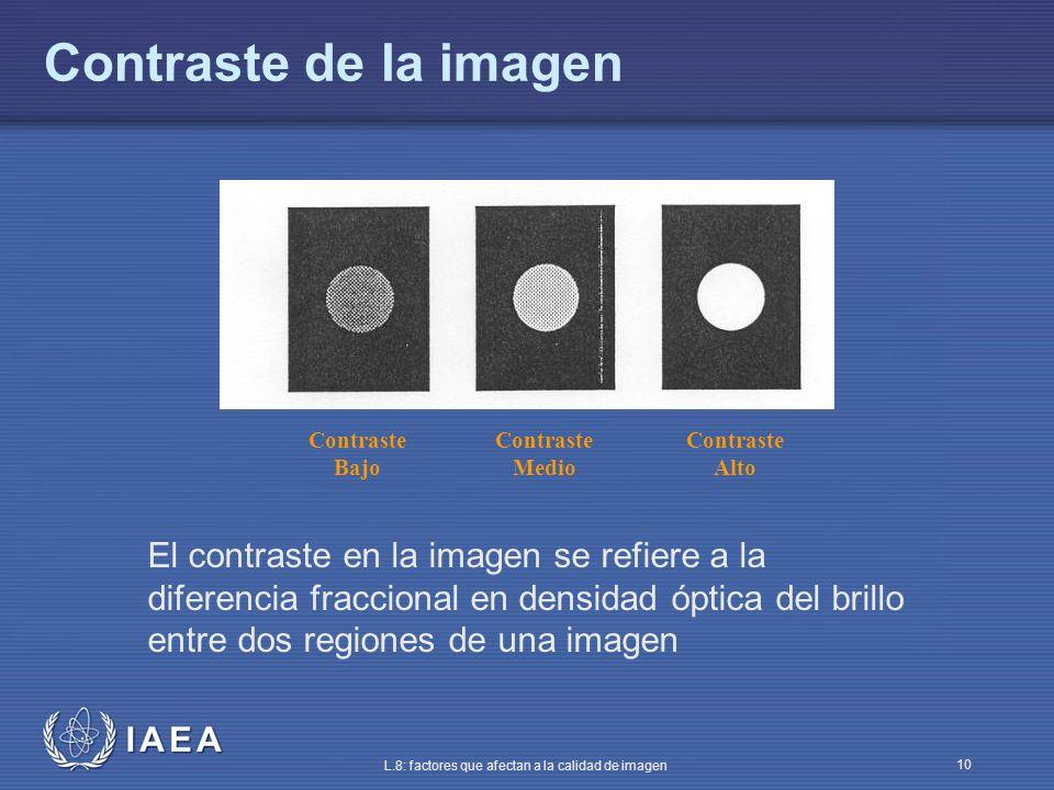 IAEA L.8: factores que afectan a la calidad de imagen 10 Contraste de la imagen El contraste en la imagen se refiere a la diferencia fraccional en den