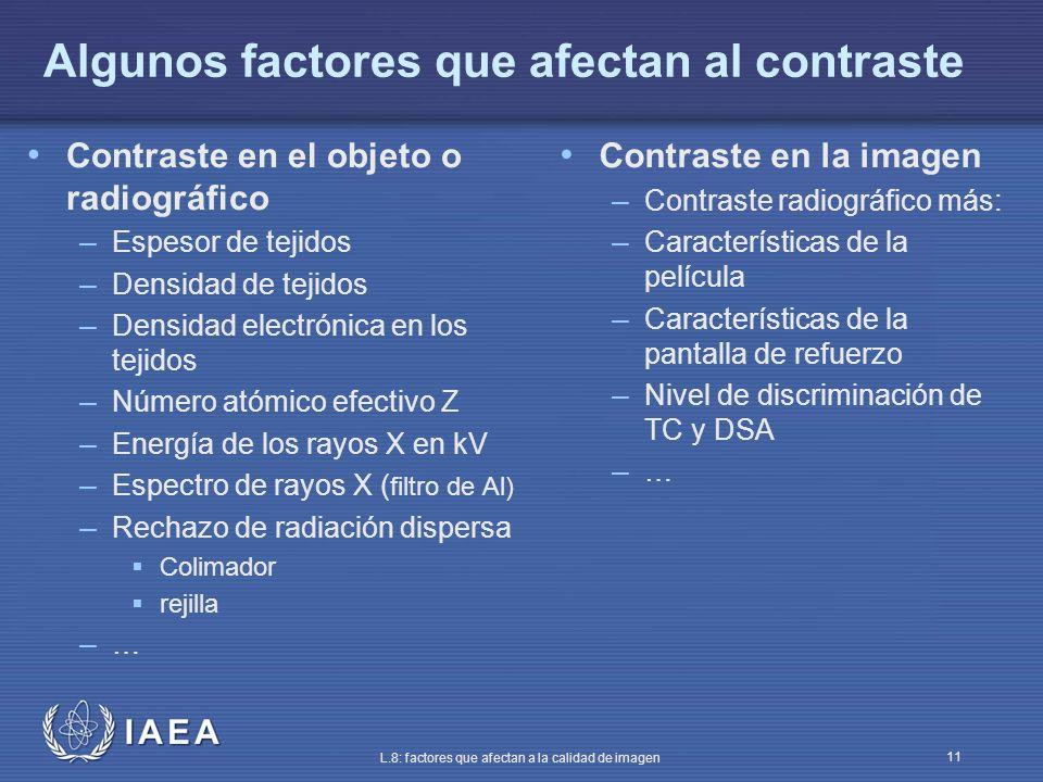 IAEA L.8: factores que afectan a la calidad de imagen 11 Algunos factores que afectan al contraste Contraste en el objeto o radiográfico – Espesor de