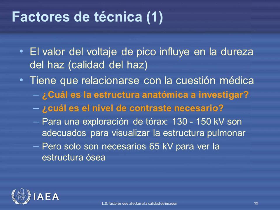 IAEA L.8: factores que afectan a la calidad de imagen 12 El valor del voltaje de pico influye en la dureza del haz (calidad del haz) Tiene que relacio