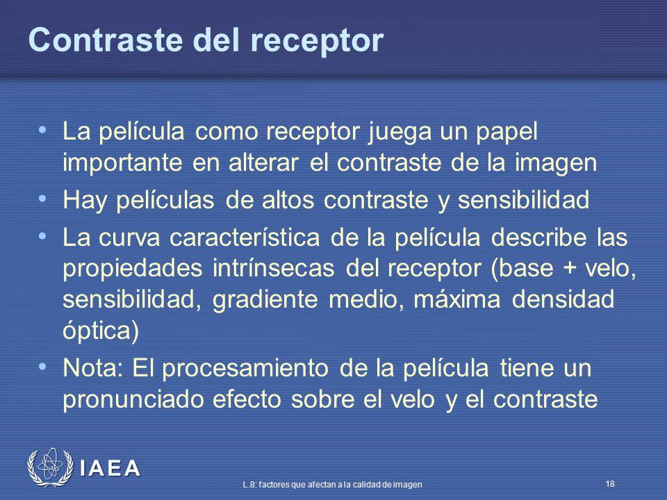 IAEA L.8: factores que afectan a la calidad de imagen 18 Contraste del receptor La película como receptor juega un papel importante en alterar el cont