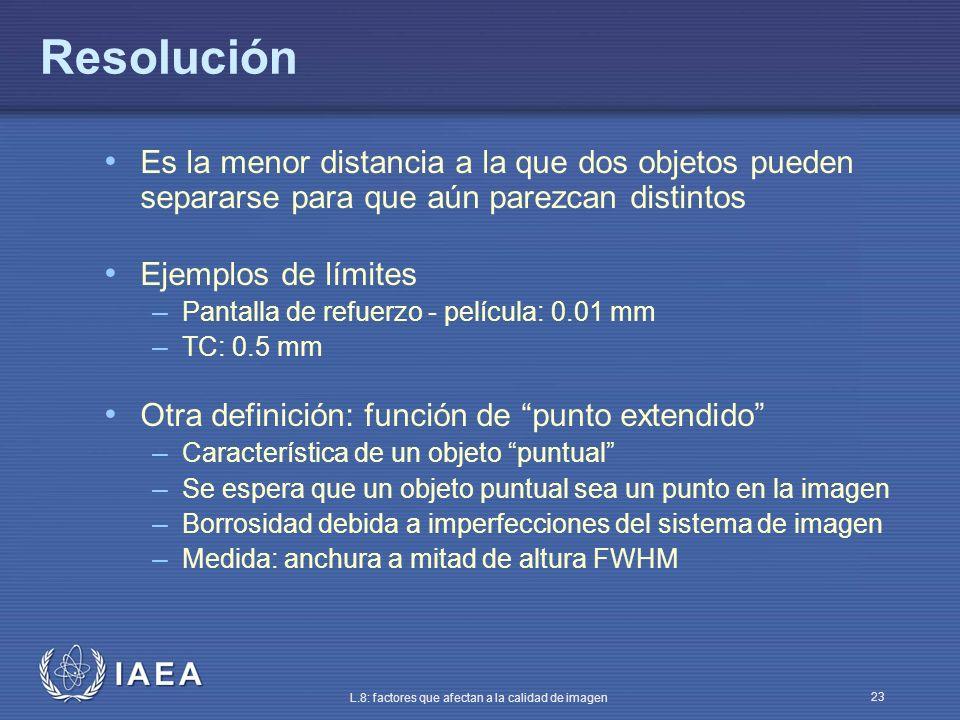 IAEA L.8: factores que afectan a la calidad de imagen 23 Resolución Es la menor distancia a la que dos objetos pueden separarse para que aún parezcan