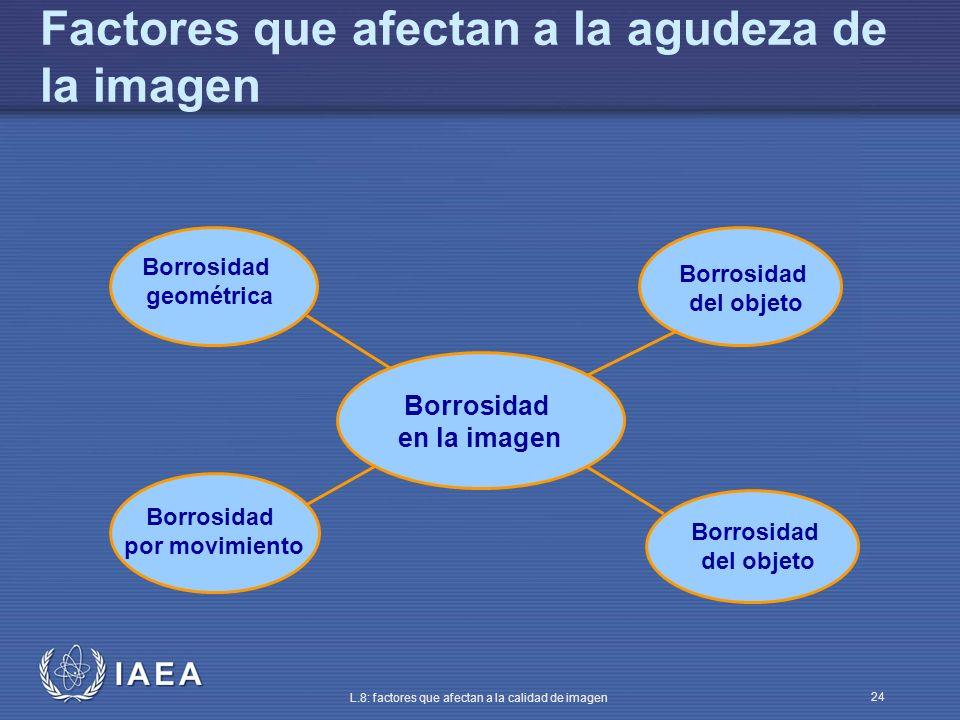 IAEA L.8: factores que afectan a la calidad de imagen 24 Factores que afectan a la agudeza de la imagen Borrosidad en la imagen Borrosidad geométrica