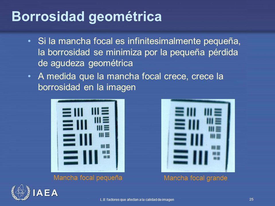 IAEA L.8: factores que afectan a la calidad de imagen 25 Borrosidad geométrica Si la mancha focal es infinitesimalmente pequeña, la borrosidad se mini