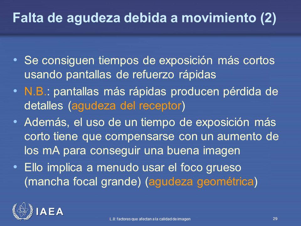 IAEA L.8: factores que afectan a la calidad de imagen 29 Falta de agudeza debida a movimiento (2) Se consiguen tiempos de exposición más cortos usando