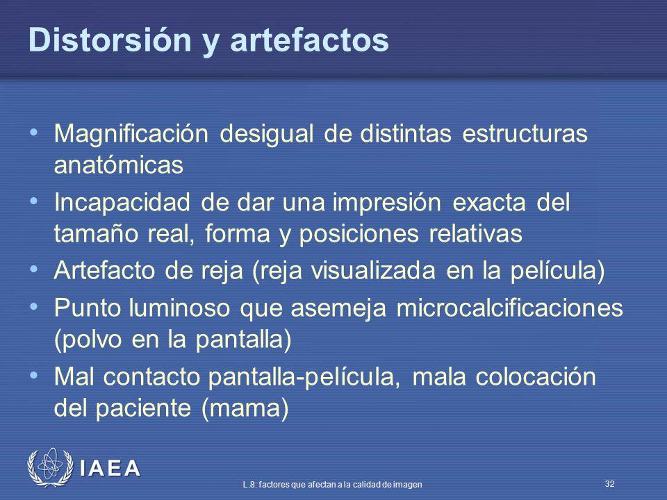 IAEA L.8: factores que afectan a la calidad de imagen 32 Distorsión y artefactos Magnificación desigual de distintas estructuras anatómicas Incapacida