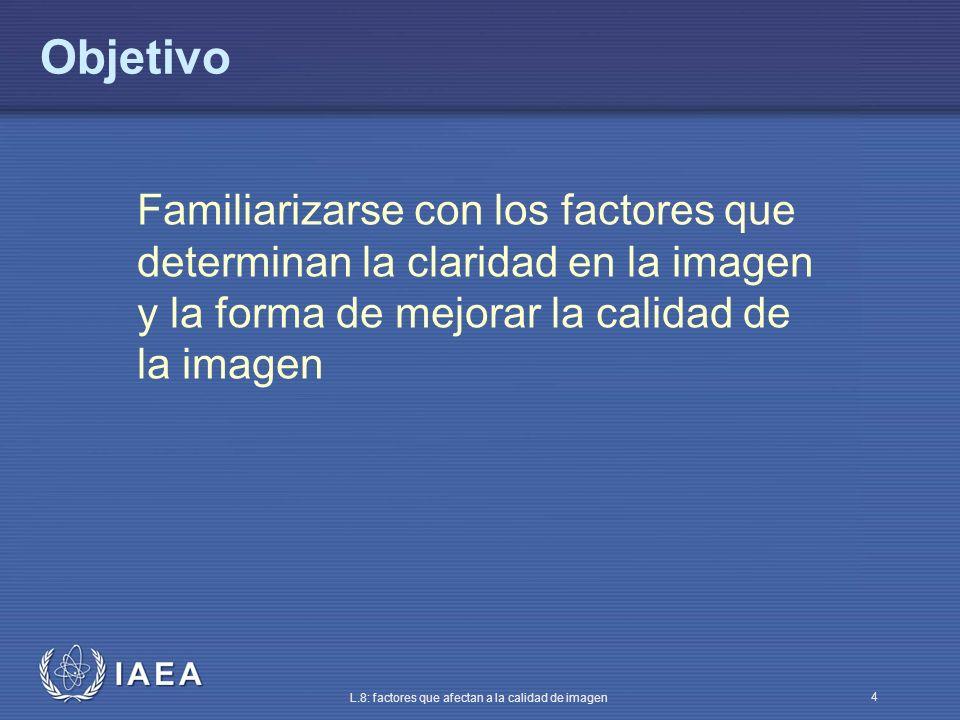 IAEA L.8: factores que afectan a la calidad de imagen 4 Objetivo Familiarizarse con los factores que determinan la claridad en la imagen y la forma de