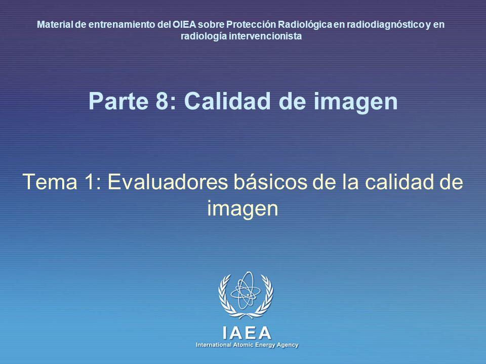IAEA International Atomic Energy Agency Parte 8: Calidad de imagen Tema 1: Evaluadores básicos de la calidad de imagen Material de entrenamiento del O