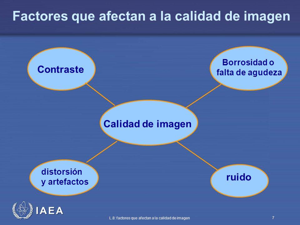 IAEA L.8: factores que afectan a la calidad de imagen 7 Factores que afectan a la calidad de imagen Calidad de imagen Contraste distorsión y artefacto