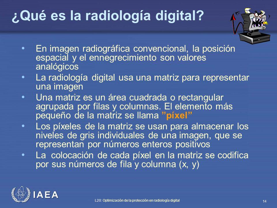 IAEA L20: Optimización de la protección en radiología digital 14 ¿Qué es la radiología digital? En imagen radiográfica convencional, la posición espac