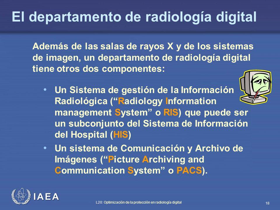 IAEA L20: Optimización de la protección en radiología digital 18 El departamento de radiología digital Además de las salas de rayos X y de los sistema