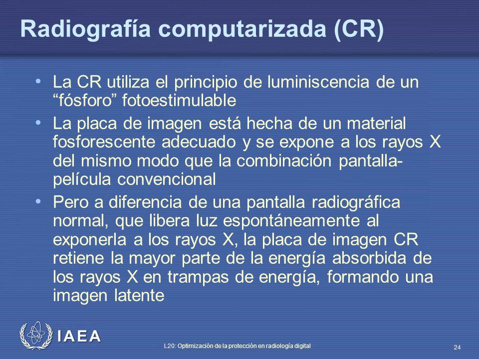 IAEA L20: Optimización de la protección en radiología digital 24 Radiografía computarizada (CR) La CR utiliza el principio de luminiscencia de un fósf