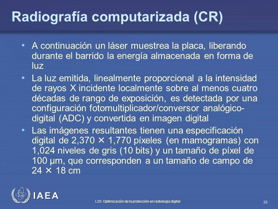 IAEA L20: Optimización de la protección en radiología digital 25 A continuación un láser muestrea la placa, liberando durante el barrido la energía al