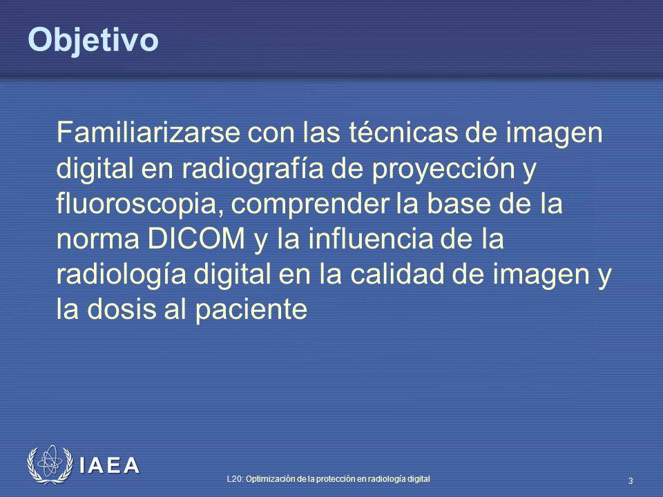 IAEA L20: Optimización de la protección en radiología digital 44 Influencia de los diferentes niveles de compresión de la imagen La compresión de la imagen puede: – Influir en la calidad de las imágenes almacenadas en el PACS – Modificar el tiempo necesario para disponer de las imágenes (velocidad de transmisión en la intranet o red interna del sistema) Un nivel de compresión demasiado alto podría producir pérdida de calidad de imagen y, consiguientemente, posible repetición del examen (dosis de radiación extra a los pacientes)