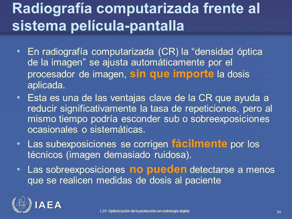 IAEA L20: Optimización de la protección en radiología digital 34 Radiografía computarizada frente al sistema película-pantalla En radiografía computar