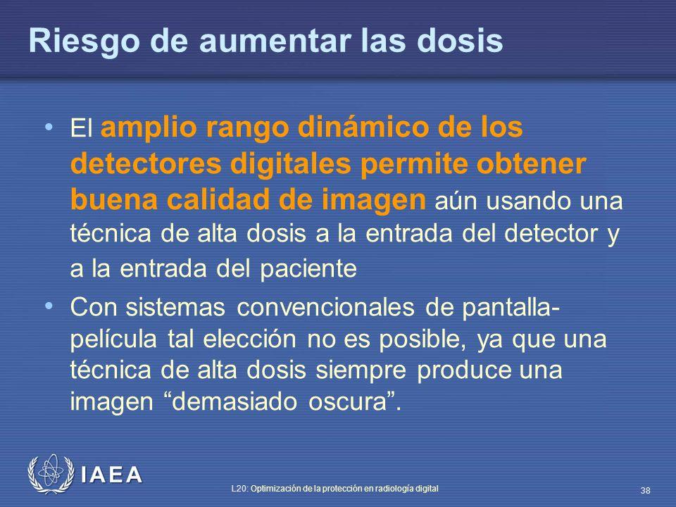 IAEA L20: Optimización de la protección en radiología digital 38 Riesgo de aumentar las dosis El amplio rango dinámico de los detectores digitales per