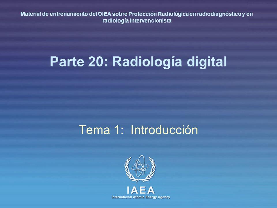 IAEA L20: Optimización de la protección en radiología digital 25 A continuación un láser muestrea la placa, liberando durante el barrido la energía almacenada en forma de luz La luz emitida, linealmente proporcional a la intensidad de rayos X incidente localmente sobre al menos cuatro décadas de rango de exposición, es detectada por una configuración fotomultiplicador/conversor analógico- digital (ADC) y convertida en imagen digital Las imágenes resultantes tienen una especificación digital de 2,370 1,770 píxeles (en mamogramas) con 1,024 niveles de gris (10 bits) y un tamaño de píxel de 100 µm, que corresponden a un tamaño de campo de 24 18 cm Radiografía computarizada (CR)