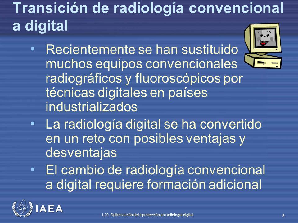 IAEA L20: Optimización de la protección en radiología digital 56 Técnica de optimización para abdomen AP Simulación con TOR(CDR) + maniquí ANSI 81 kVp, 100 cm (distancia foco-película) 1.6 mGy