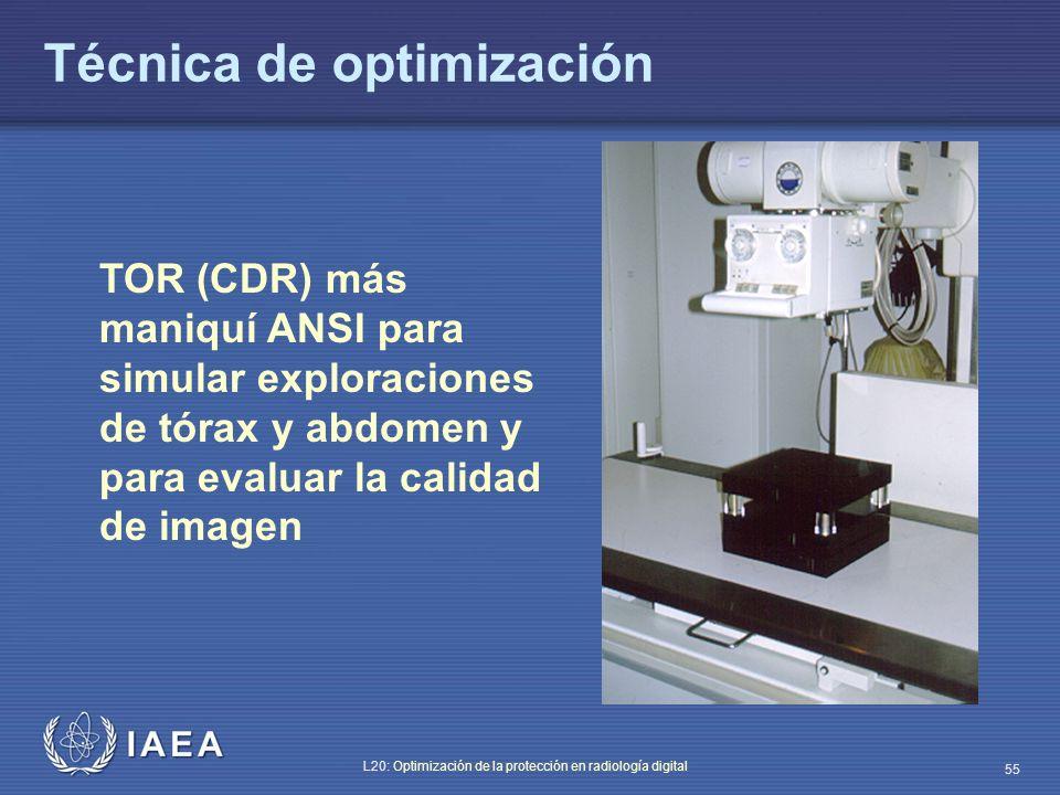 IAEA L20: Optimización de la protección en radiología digital 55 TOR (CDR) más maniquí ANSI para simular exploraciones de tórax y abdomen y para evalu