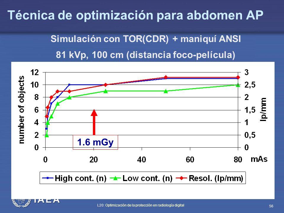 IAEA L20: Optimización de la protección en radiología digital 56 Técnica de optimización para abdomen AP Simulación con TOR(CDR) + maniquí ANSI 81 kVp