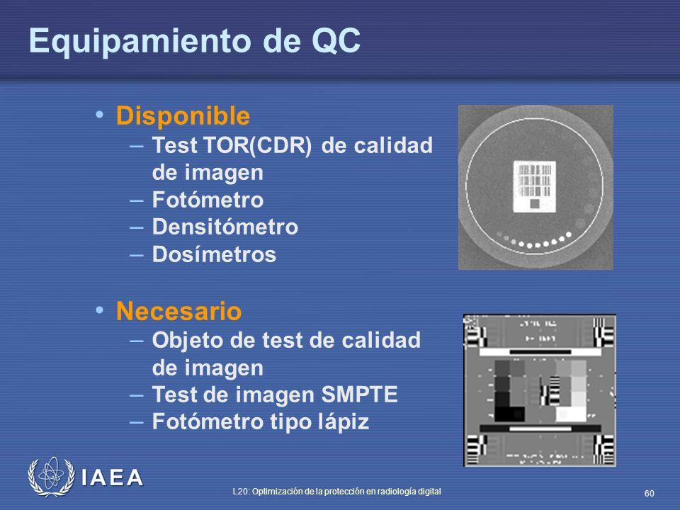 IAEA L20: Optimización de la protección en radiología digital 60 Disponible – Test TOR(CDR) de calidad de imagen – Fotómetro – Densitómetro – Dosímetr