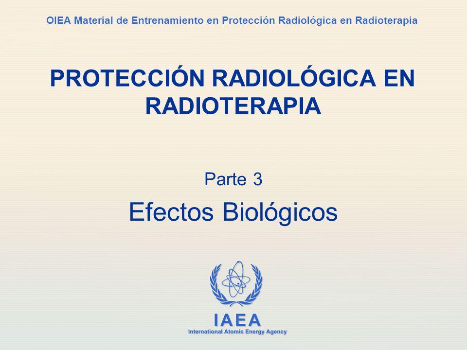 IAEA International Atomic Energy Agency OIEA Material de Entrenamiento en Protección Radiológica en Radioterapia Parte 3 Efectos Biológicos PROTECCIÓN