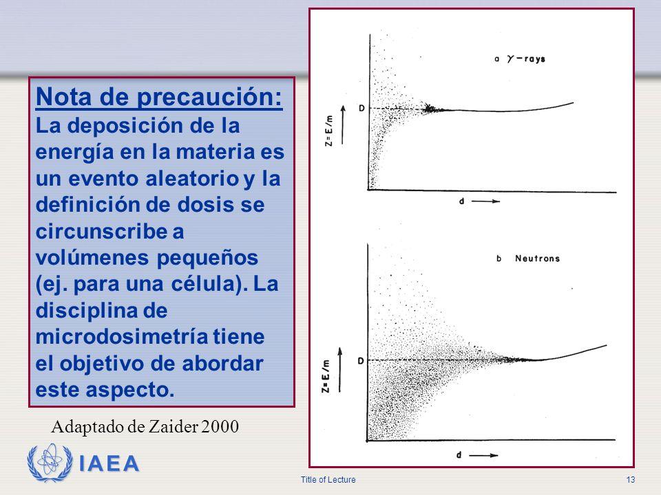 IAEA Title of Lecture13 Adaptado de Zaider 2000 Nota de precaución: La deposición de la energía en la materia es un evento aleatorio y la definición d