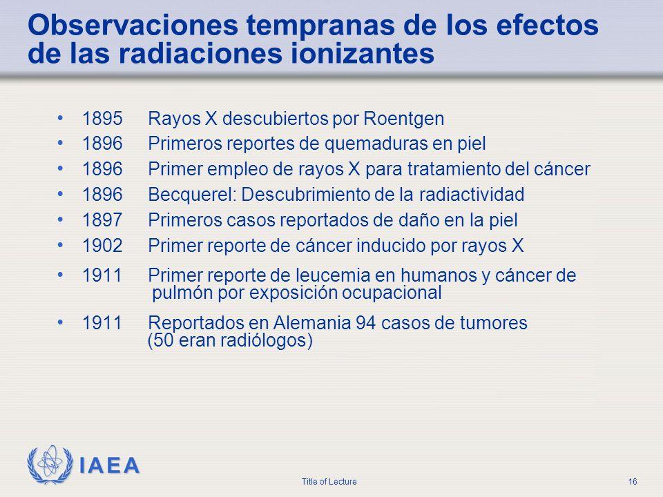 IAEA Title of Lecture16 Observaciones tempranas de los efectos de las radiaciones ionizantes 1895 Rayos X descubiertos por Roentgen 1896 Primeros repo