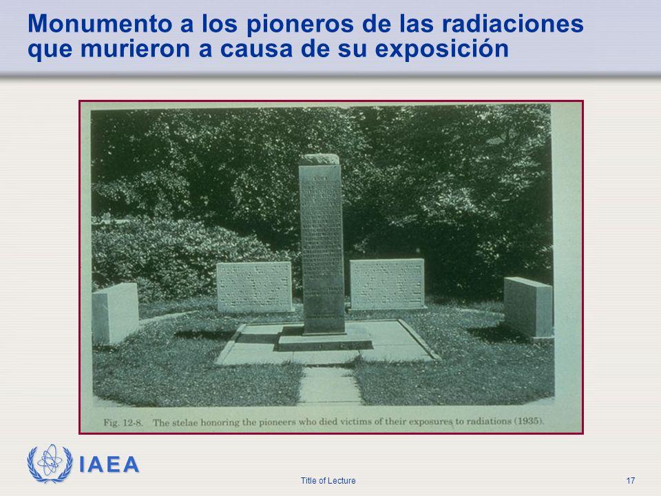 IAEA Title of Lecture17 Monumento a los pioneros de las radiaciones que murieron a causa de su exposición