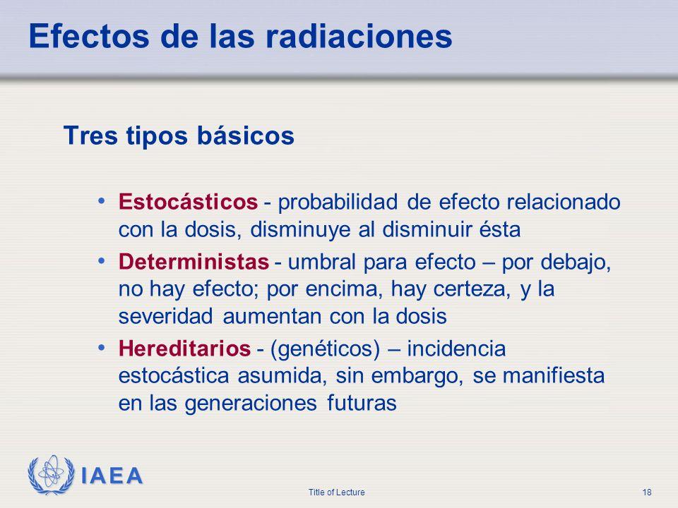 IAEA Title of Lecture18 Efectos de las radiaciones Tres tipos básicos Estocásticos - probabilidad de efecto relacionado con la dosis, disminuye al dis